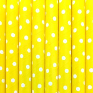 Paper straws – Yellow with white dots - decomazing.com