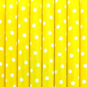 Strohhalme Papier - Gelb mit weißen Punkten - decomazing.com