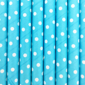 Paper straws – Paper straws – Light blue with white dots - decomazing.com