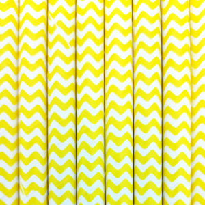 Paper straws – White with yellow waves - decomazing.com