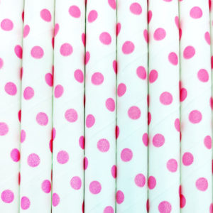 Paper straws – White with light pink dots - decomazing.com