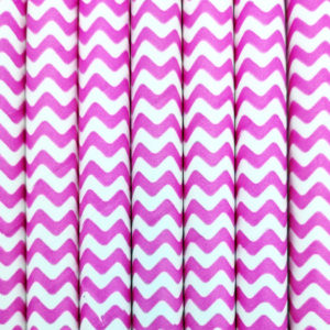 Paper straws – White with pink waves - decomazing.com