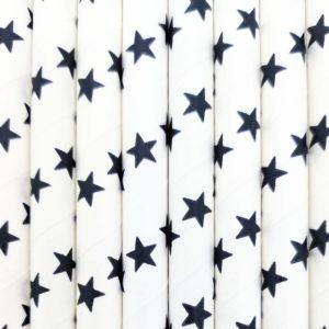 Strohhalme Papier - Weiß mit schwarzen Sternen - decomazing.com