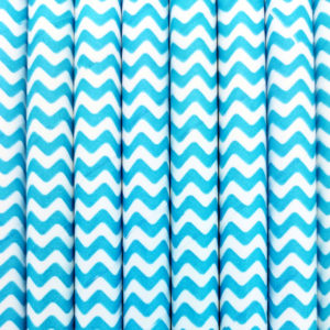 Paper straws – White with turquoise waves - decomazing.com